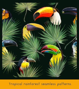 Seamless patterns of amazon tropical rainforest and colorful toucan birds.
