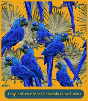 Seamless patterns of amazon tropical rainforest and hyazin macaw birds.