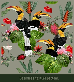 Seamless patterns art of amazon tropical rainforest and colorful hornbill birds.