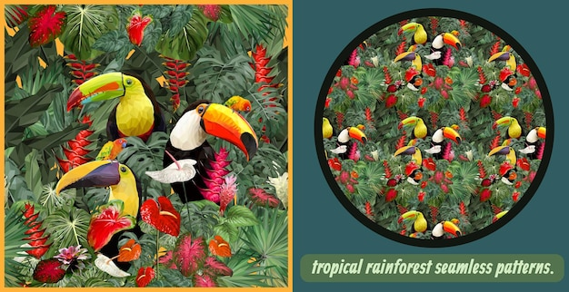 Seamless patterns art of amazon tropical rainforest and colorful toucan birds.
