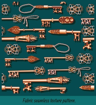 Seamless patterns art of hand drawing antique keys.