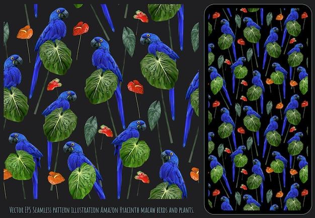 히아진 잉꼬 새와 열대 잎의 매끄러운 패턴 예술.