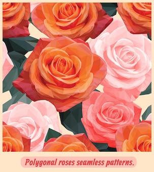 Бесшовные шаблоны искусства оранжевых и розовых роз.