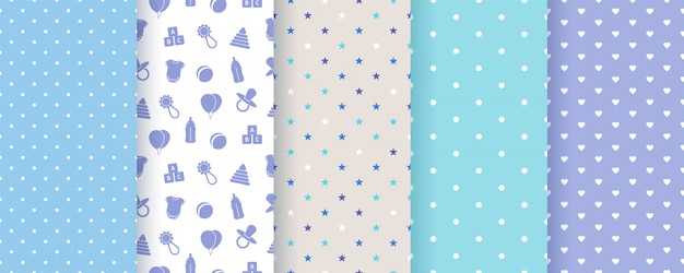 Seamless patterns for baby boy shower