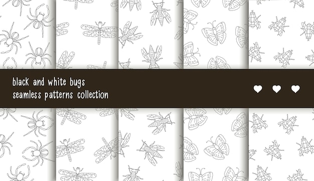 Seamless patterns collection of black and white insects.