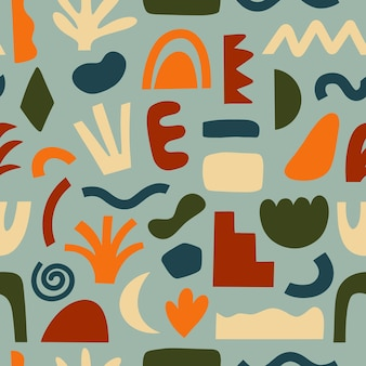 Seamless patterns hand drawn various shapes and doodle objects