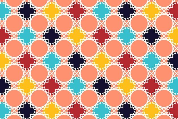 プレミアムベクトルのヴィンテージレトロな色とイスラム教に触発されたモチーフの形のシームレスなパターン
