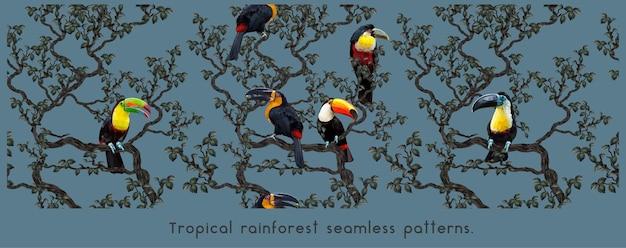 アマゾンの熱帯雨林とカラフルなコンゴウインコのシームレスなパターン。