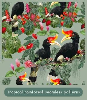 アマゾンの熱帯雨林とカラフルなサイチョウの鳥のシームレスなパターン。