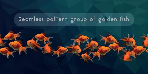Бесшовные модели многоугольной золотой рыбки, плавающей.