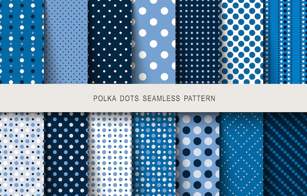 Seamless patterns polka dots set