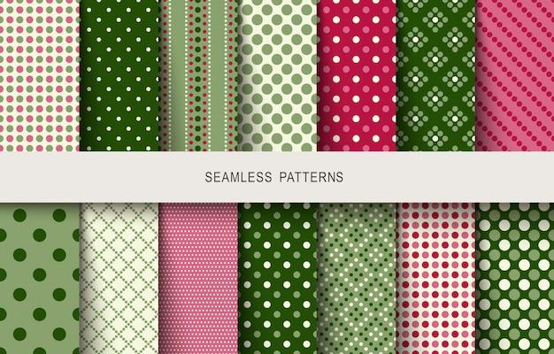 Seamless patterns polka dots set