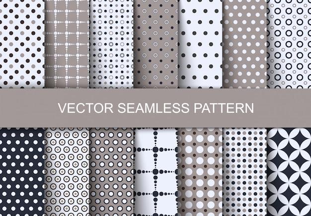 Seamless patterns polka dots set.