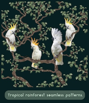 Seamless patterns polygonal of amazon tropical rainforest with cockatoo birds.