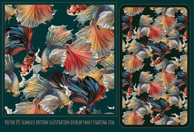 Бесшовные модели полигональных векторных искусства красочных причудливых бойцовских рыб.