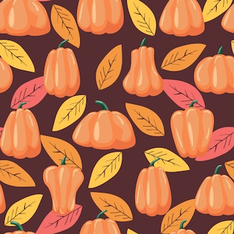 Seamless patterns pumpkin and leaves