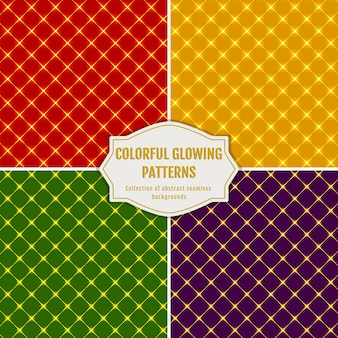 Seamless patterns in red, yellow, green and purple colors. glowing collection for holiday design.