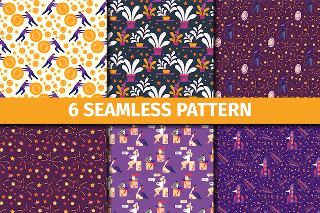 Набор бесшовных узоров цветочный креативный орнамент для обоев, ткани, оберточной бумаги