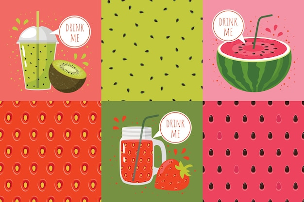 Seamless patterns set and illustrations with drinks: strawberry, watermelon, kiwi, words drink me