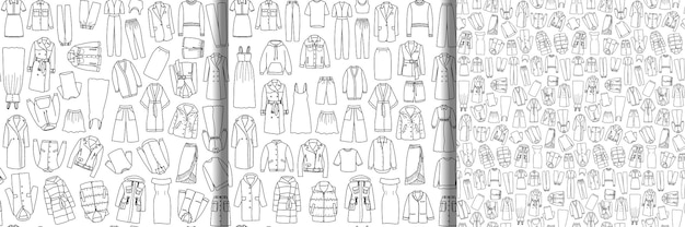 Бесшовные шаблоны набор каракули вектор женской одежды