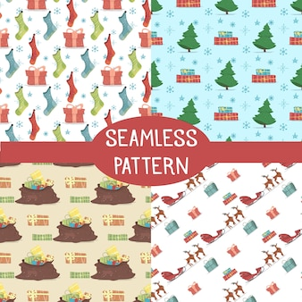 Seamless patterns set for winter holidays, prints