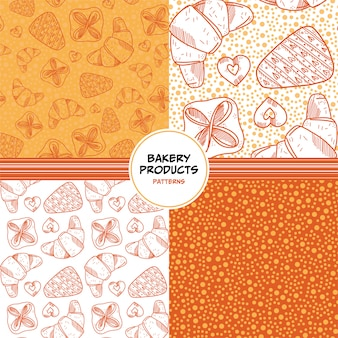 Seamless patterns set with bakery products