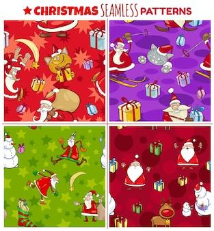 포장지 또는 종이 팩에 대한 만화 크리스마스 문자로 설정된 원활한 패턴