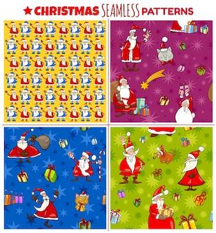 Бесшовные шаблоны с мультяшными рождественскими персонажами для обертки или бумажного пакета