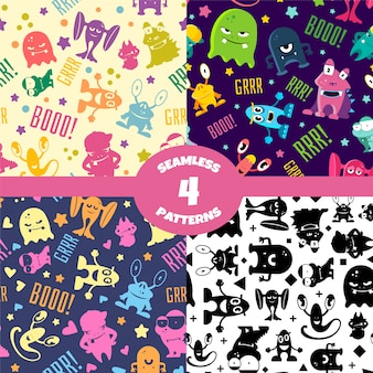 Seamless patterns set with cute cartoon monsters