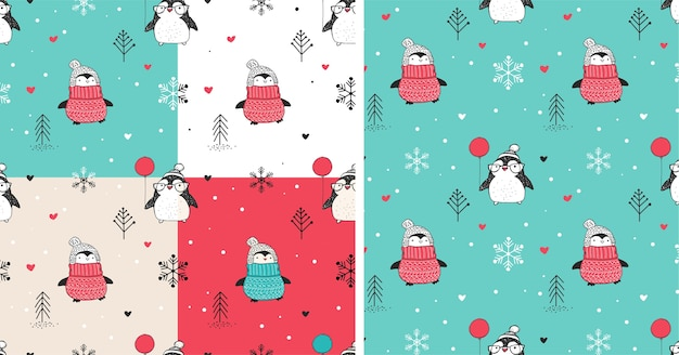 Seamless patterns set with cute hand drawn penguins