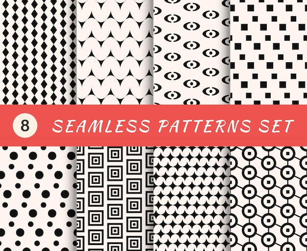 Seamless patterns set with endless geometric textures. abstract backgrounds. collection of wallpapers with fabric elements.