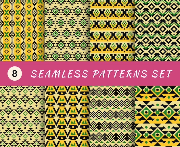 Seamless patterns set with endless mexican or aztec tribal geometric textures. abstract backgrounds. collection of wallpapers with fabric elements