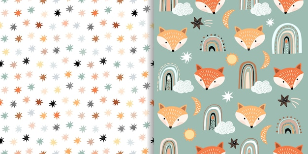 Seamless patterns set with foxes and stars