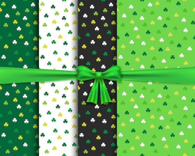 Seamless patterns set with green shamrocks