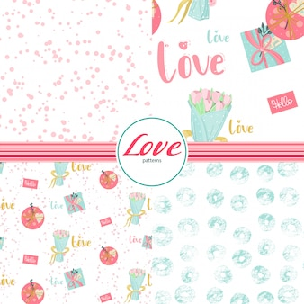 Seamless patterns set with love elements in pastel colors.