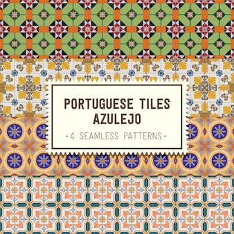 Seamless patterns set with portuguese tiles