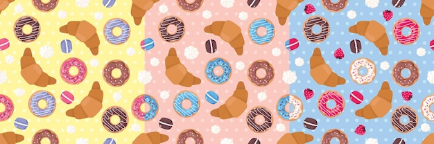 カップケーキ、メレンゲ、マカロン、イチゴ、クロワッサンなど、お菓子がセットになったシームレスなパターン。