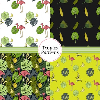 Seamless patterns set with tropics elements.