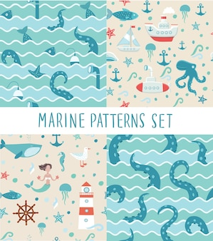 Seamless patterns sets of illustrations of fishing trip