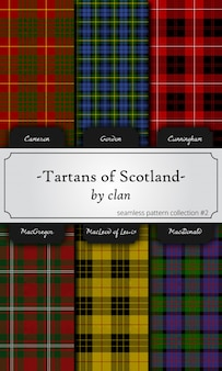 Seamless patterns of tartans by clan - cameron, gordon, cunningham, macgregor, macleod, ma