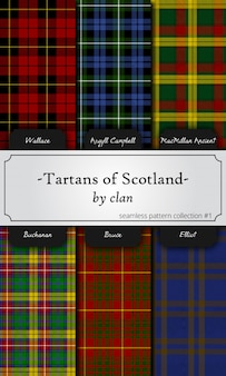 Seamless patterns of tartans by clan - wallace, argyll campbell, macmillan, buchanan, bruc