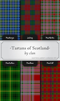 Seamless patterns of tartans by clan