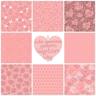Seamless patterns valentine's day set