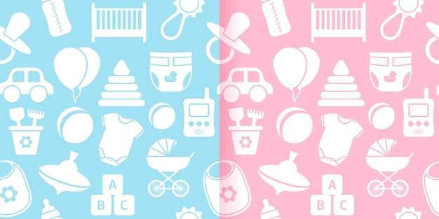 赤ちゃんのおもちゃとのシームレスなパターン。ベクトルイラスト。