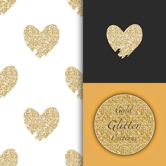 Seamless patterns with doodle hand drawn golden hearts