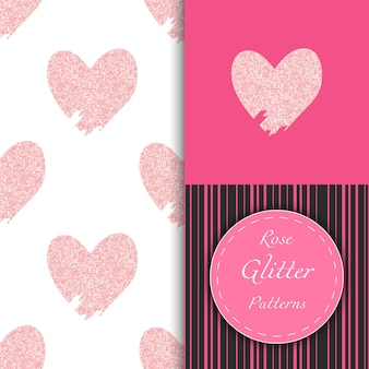 Seamless patterns with doodle rose glittering hearts