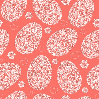 Seamless patterns with florals easter eggs
