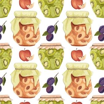 フルーツとジャムのパターンとのシームレスなパターン。