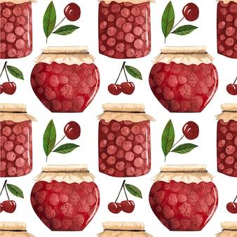 Бесшовные модели с фруктами и узорами джема.