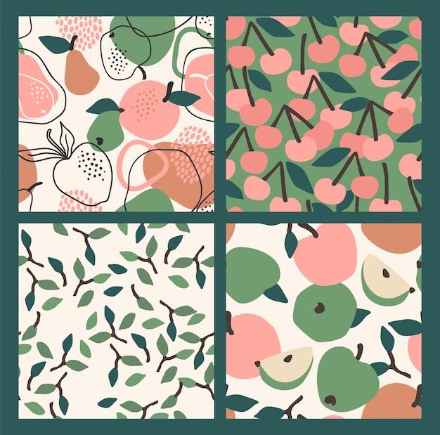 果物とのシームレスなパターン。トレンディな手描き。